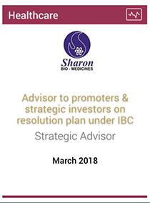 Advisor to promoters & strategic investors on resolution plan under IBC