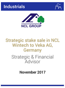 Strategic stake sale in NCL Wintech to Veka AG, Germany