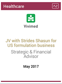 JV with Strides Shasun for US formulation business